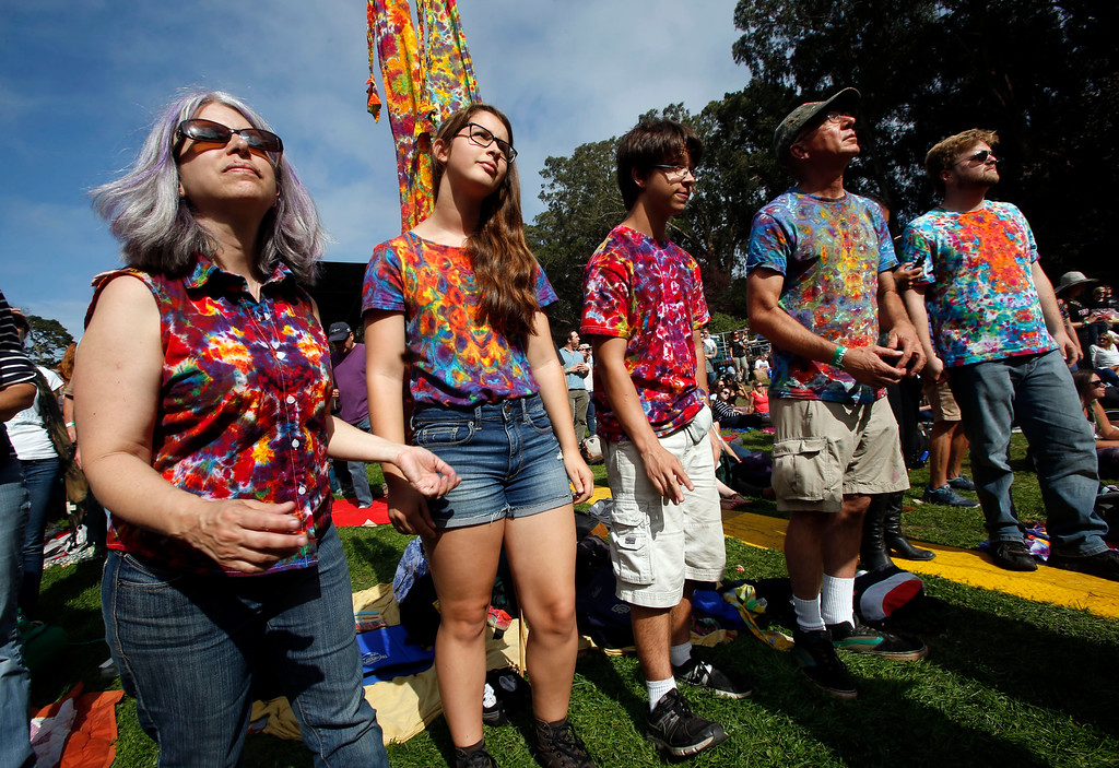 . A tie-dye shirt family listens to bands on the Sutro Stage during day one of the Outside Lands music festival at Golden Gate Park in San Francisco, Calif., on Friday, Aug. 8, 2014. (Jane Tyska/Bay Area News Group)