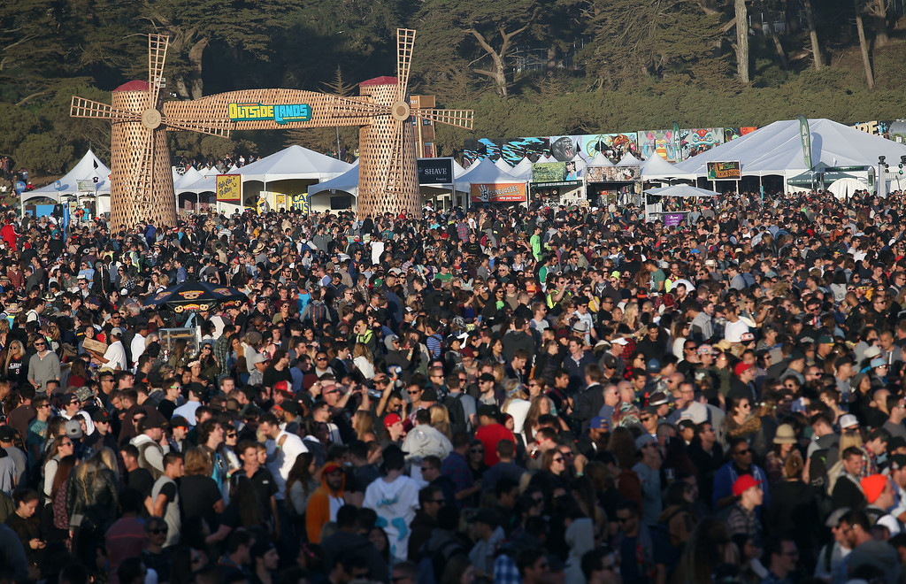 . A view of the crowd at the Land\'s End stage during day one of the Outside Lands music festival at Golden Gate Park in San Francisco, Calif., on Friday, Aug. 8, 2014. (Jane Tyska/Bay Area News Group)