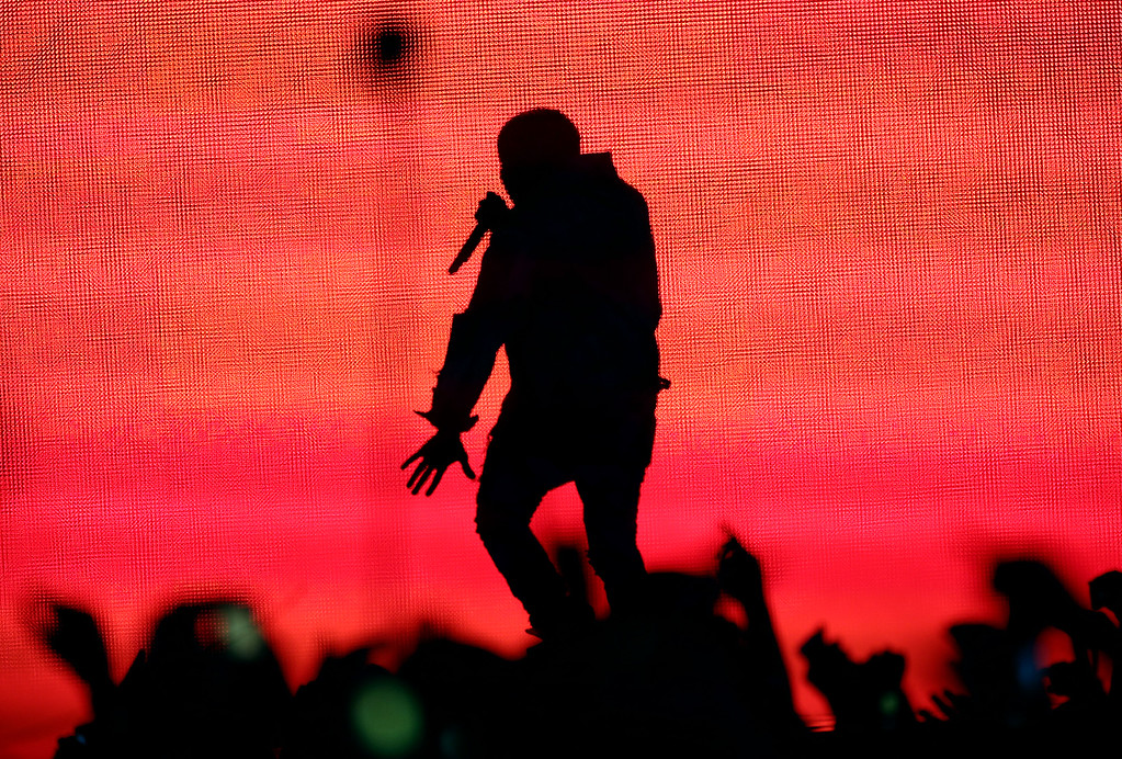 . Rapper Kanye West performs during day one of the Outside Lands music festival at Golden Gate Park in San Francisco, Calif., on Friday, Aug. 8, 2014. West was the headliner among the many bands who performed on Friday. The festival runs through Sunday, Aug. 10. (Jane Tyska/Bay Area News Group)