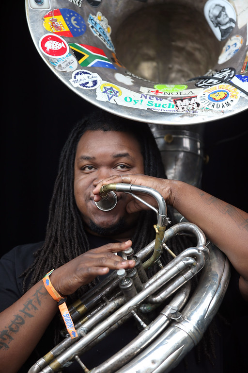 . Edward Lee Jr. performs with the Soul Rebels on Crowds the Land\'s End stage during day one of the Outside Lands music festival at Golden Gate Park in San Francisco, Calif., on Friday, Aug. 8, 2014. (Jane Tyska/Bay Area News Group)