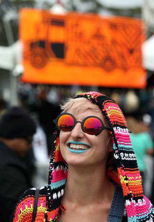 . Kristen Settelmayer, of Brea, Calif., listens to music at the Land\'s End stage during day one of the Outside Lands music festival at Golden Gate Park in San Francisco, Calif., on Friday, Aug. 8, 2014. (Jane Tyska/Bay Area News Group)