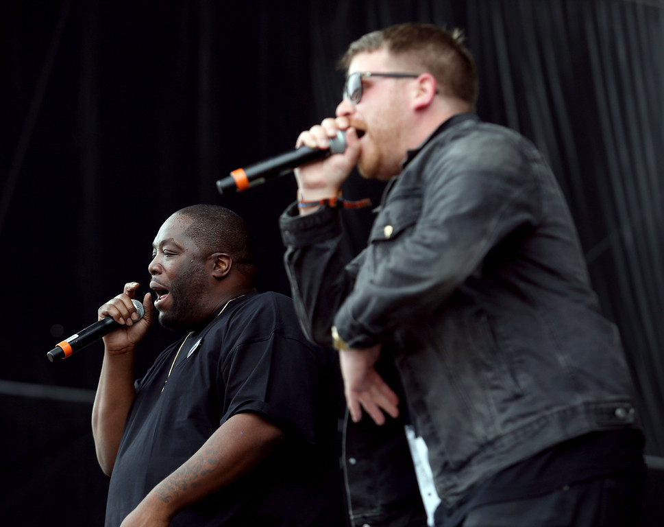 . Rappers Killer Mike, left, and El-P, of Run the Jewels, perform at the Land\'s End stage during day one of the Outside Lands music festival at Golden Gate Park in San Francisco, Calif., on Friday, Aug. 8, 2014. (Jane Tyska/Bay Area News Group)