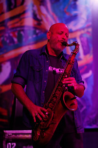 Ben Ellman performs with Galactic during the San Jose Jazz Festival at the Plaza de César Chavez in San Jose, Calif., on Friday, Aug. 12, 2016. (Jim Gensheimer/Bay Area News Group)