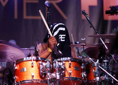 Russell Batiste Jr. plays the drums blind with Funky Meters during the San Jose Jazz Festival at the Plaza de César Chavez in San Jose, Calif., on Friday, Aug. 12, 2016. (Jim Gensheimer/Bay Area News Group)