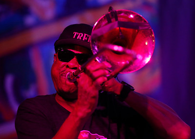 Corey Henry performs with Galactic during the San Jose Jazz Festival at the Plaza de César Chavez in San Jose, Calif., on Friday, Aug. 12, 2016. (Jim Gensheimer/Bay Area News Group)