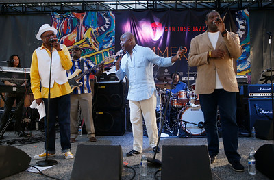 Tony Lindsay, at center, sings with Fred Ross, at left, and Will Russ Jr. while performing with The Soul Soldiers during the San Jose Jazz Festival at the Plaza de César Chavez in San Jose, Calif., on Friday, Aug. 12, 2016. (Jim Gensheimer/Bay Area News Group)