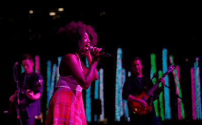 Erica Falls performs with Galactic during the San Jose Jazz Festival at the Plaza de César Chavez in San Jose, Calif., on Friday, Aug. 12, 2016. (Jim Gensheimer/Bay Area News Group)