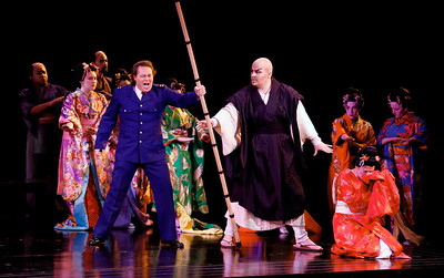 "A dress rehearsal of Puccini's ""Madama Butterfly"" takes place on stage at the California Theatre in San Jose, Calif. on Wednesday, Feb. 12, 2014. The actors at center stage are Chris Bengochea as PF Pinkerton and Matthew Anchel as The Bonze. ""Madame Butterfly"" is conducted by David Rohrbaugh, the musical director and founding member of Opera San Jose. He will retire after the 2013-2014 season. (Gary Reyes/Bay Area News Group)"