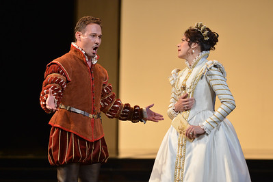 "Mariusz Kwiecien, as Rodrigo, Marquis of Posa,  and Ana Maria Martinez, as Elisabetta of Valois, perform during a dress rehearsal of the San Francisco Opera's upcoming production of Verdi's ""Don Carlo"" at the War Memorial Opera House in San Francisco, Calif., on Thursday, June 9, 2016. (Dan Honda/Bay Area News Group)"