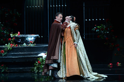 "Marisa Kwiecien, as Rodrigo, Marquis of Posa, and Nadia Krasteva, as Princess Eboli, perform during a dress rehearsal of the San Francisco Opera's upcoming production of Verdi's ""Don Carlo"" at the War Memorial Opera House in San Francisco, Calif., on Thursday, June 9, 2016. (Dan Honda/Bay Area News Group)"