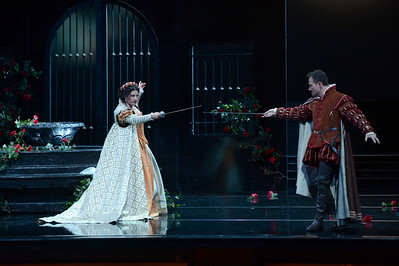 "Nadia Krasteva, left, as Princess Eboli and Mariusz Kwiecien, right, perform during a dress rehearsal of the San Francisco Opera's upcoming production of Verdi's ""Don Carlo"" at the War Memorial Opera House in San Francisco, Calif., on Thursday, June 9, 2016. (Dan Honda/Bay Area News Group)"