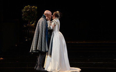 """Michael Fabiano, as Don Carlo, and Ana Maria Martinez, as Elisabetta of Valois, perform during a dress rehearsal of the San Francisco Opera's upcoming production of Verdi's """"Don Carlo"""" at the War Memorial Opera House in San Francisco, Calif., on Thursday, June 9, 2016. (Dan Honda/Bay Area News Group)"""