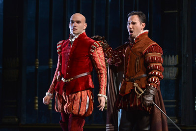 "Michael Fabiano, left, as Don Carlo, and Mariusz Kwiecien, right, as Rodrigo, Marquis of Posa, perform during a dress rehearsal of the San Francisco Opera's upcoming production of Verdi's ""Don Carlo"" at the War Memorial Opera House in San Francisco, Calif., on Thursday, June 9, 2016. (Dan Honda/Bay Area News Group)"