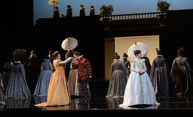 "Nadia Krasteva, left, as Princess Eboli, Mariusz Kwiecien, as Rodrigo, Marquis of Posa, center, and Ana Maria Martinez, as Elisabetta of Valois, perform during a dress rehearsal of the San Francisco Opera's upcoming production of Verdi's ""Don Carlo"" at the War Memorial Opera House in San Francisco, Calif., on Thursday, June 9, 2016. (Dan Honda/Bay Area News Group)"
