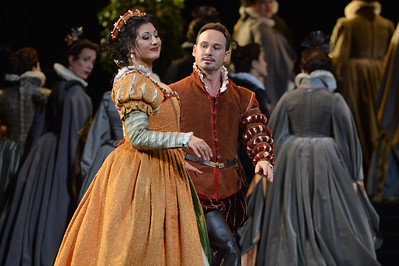 "Nadia Krasteva, as Princess Eboli, and Mariusz Kwiecien, as Rodrigo, Marquis of Posa, perform during a dress rehearsal of the San Francisco Opera's upcoming production of Verdi's ""Don Carlo"" at the War Memorial Opera House in San Francisco, Calif., on Thursday, June 9, 2016. (Dan Honda/Bay Area News Group)"