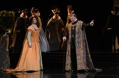 "Rene Pape, right, as Philip II, and Nadia Krasteva, as Princess Eboli, perform during a dress rehearsal of the San Francisco Opera's upcoming production of Verdi's ""Don Carlo"" at the War Memorial Opera House in San Francisco, Calif., on Thursday, June 9, 2016. (Dan Honda/Bay Area News Group)"