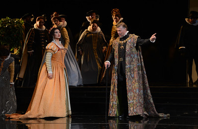 "Rene Pape, right, as Philip II, and Nadia Krasteva, as Princess Eboli, perform during a dress rehearsal of the San Francisco Opera's upcoming production of Verdi's ""Don Carlo"" at the War Memorial Opera House in San Francisco, Calif., on Thursday, June 9, 2016. (Dan Honda/Bay Area News Group)"