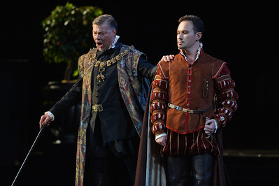 """Mariusz Kwiecien, right, as Rodrigo, Marquis of Posa and Rene Pape, as Philip II, perform during a dress rehearsal of the San Francisco Opera's upcoming production of Verdi's """"Don Carlo"""" at the War Memorial Opera House in San Francisco, Calif., on Thursday, June 9, 2016. (Dan Honda/Bay Area News Group)"""