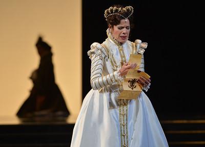 "Ana Maria Martinez, as Elisabetta of Valois, performs during a dress rehearsal of the San Francisco Opera's upcoming production of Verdi's ""Don Carlo"" at the War Memorial Opera House in San Francisco, Calif., on Thursday, June 9, 2016. (Dan Honda/Bay Area News Group)"