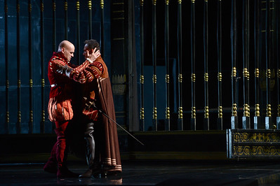 "Michael Fabiano, left, as Don Carlo, and Mariusz Kwiecien, left, as Rodrigo, Marquis of Posa, perform during a dress rehearsal of the San Francisco Opera's upcoming production of Verdi's ""Don Carlo"" at the War Memorial Opera House in San Francisco, Calif., on Thursday, June 9, 2016. (Dan Honda/Bay Area News Group)"
