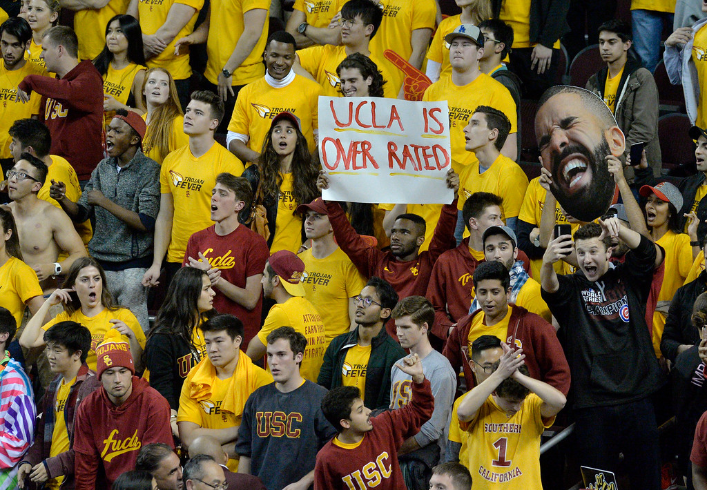 . USC�s student section shows their support against UCLA at a basketball rivalry showdown in Los Angeles Wednesday, January 25, 2017. (Photo by Thomas R. Cordova, Daily News/SCNG)