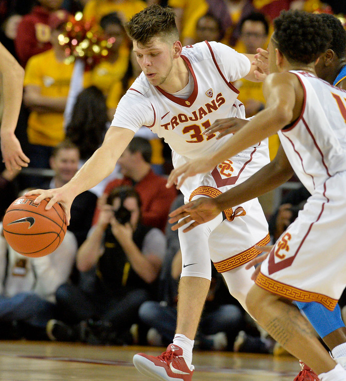 . USC�s Nick Rakocevic(31) gets the ball under control against UCLA men\'s basketball rivalry showdown in Los Angeles Wednesday, January 25, 2017. (Photo by Thomas R. Cordova, Daily News/SCNG)