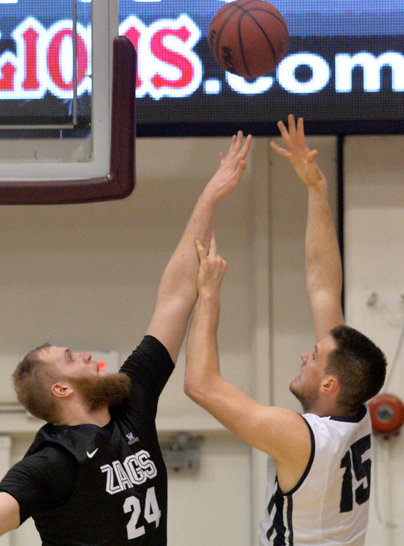 . Loyola Marymount�s Stefan Jovanovic (15) shoots the ball over Gonzaga�s Przeme Karnowski(24) in a West Coast Conference game in Los Angeles Thursday, February 9, 2017. (Photo by Thomas R. Cordova, Daily News/SCNG)