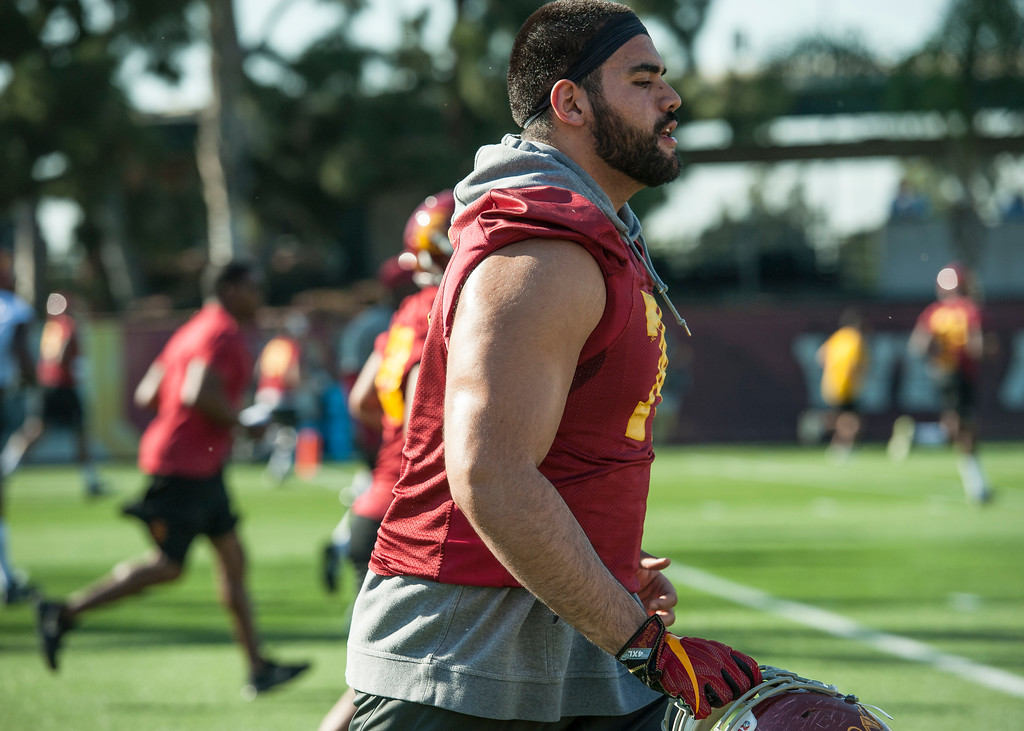 . Nico Falah runs across the field during USC�s spring football practice at Howard Jones Field/Brian Kennedy Field in Los Angeles on Thursday, March 09, 2017. (Photo by Ed Crisostomo, Los Angeles Daily News/SCNG)