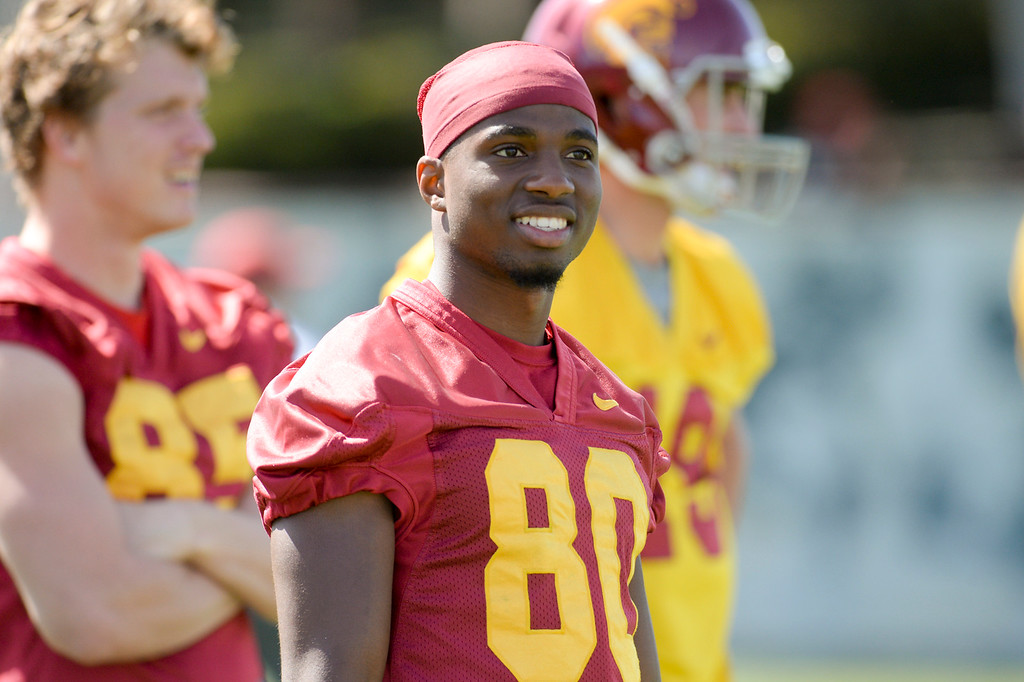 . USC\'s Deontay Burnett, #80, during spring practice at USC Thursday, April 13, 2017.  ( Photo by David Crane, Los Angeles Daily News/SCNG)