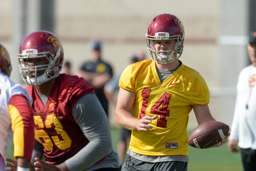 . USC\'s QB Sam Darnold, #14, during spring practice at USC Thursday, April 13, 2017.  ( Photo by David Crane, Los Angeles Daily News/SCNG)
