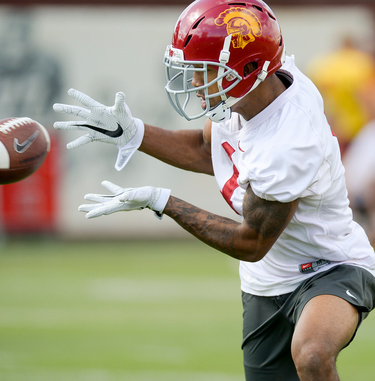 . USC\'s Jack Jones, #1, hauls in a pass during spring practice at USC Thursday, April 13, 2017.  ( Photo by David Crane, Los Angeles Daily News/SCNG)
