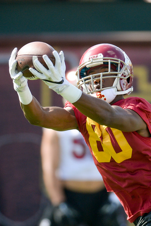 . USC\'s Deontay Bernett, #80, hauls in a pass during spring practice at USC Thursday, April 13, 2017.  ( Photo by David Crane, Los Angeles Daily News/SCNG)