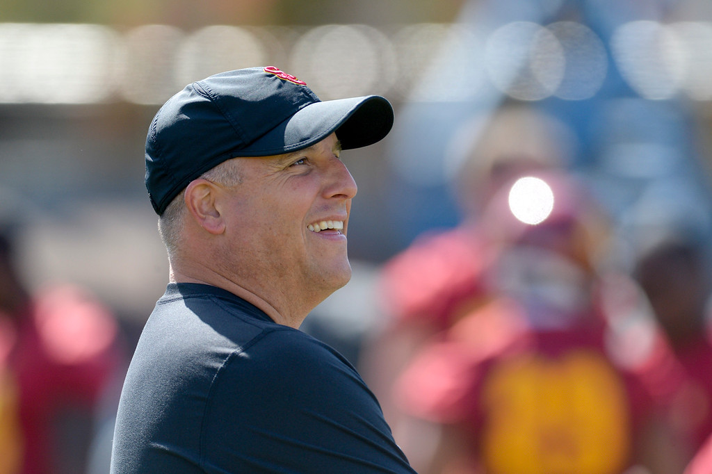 . USC\'s head coach Clay Helton during spring practice at USC Thursday, April 13, 2017.  ( Photo by David Crane, Los Angeles Daily News/SCNG)