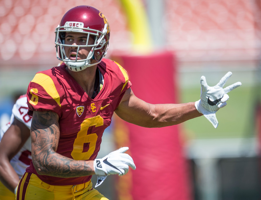 . Wide receiver Michael Pittman Jr., runs his route during USC Spring Game at the Los Angeles Memorial Coliseum in Los Angeles on Saturday, April 15, 2017. (Photo by Ed Crisostomo, Los Angeles Daily News/SCNG)