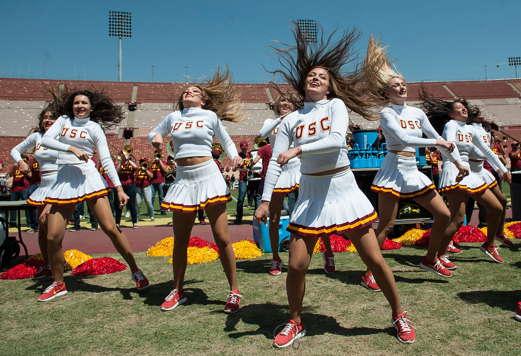 . Cheerleaders show their moves during USC Spring Game at the Los Angeles Memorial Coliseum in Los Angeles on Saturday, April 15, 2017. (Photo by Ed Crisostomo, Los Angeles Daily News/SCNG)