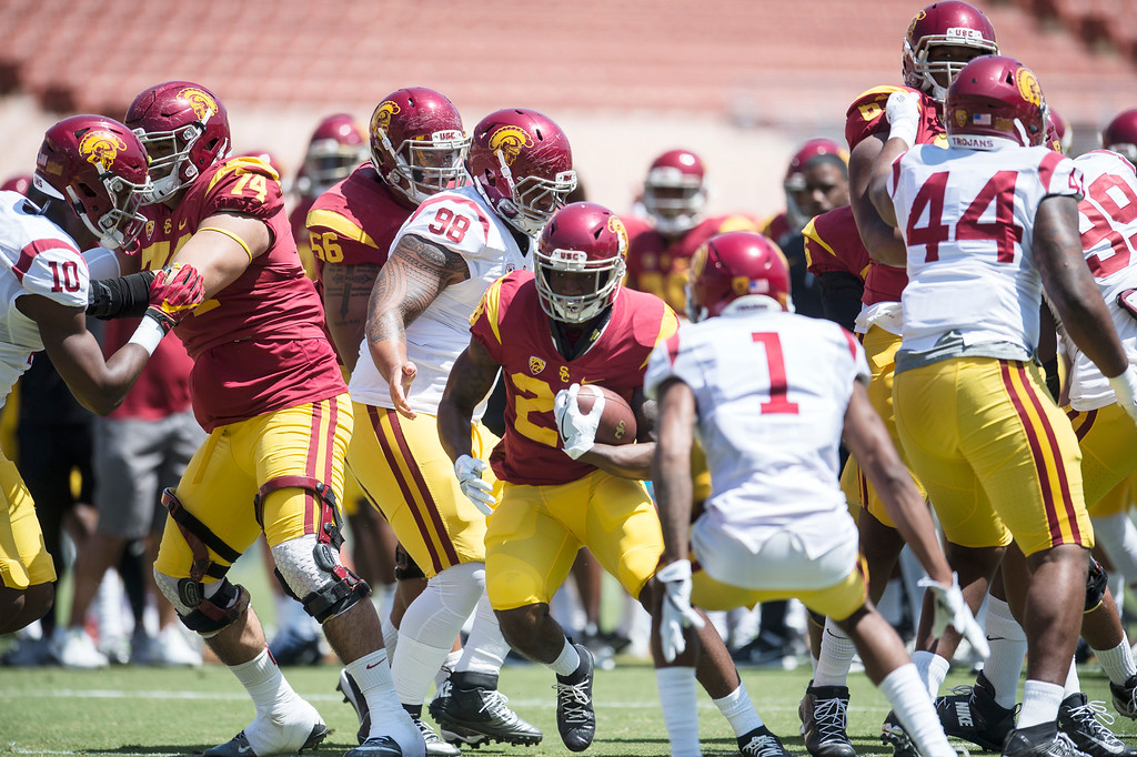 . Tailback Aca\'Cedric Ware rumbles for more yards during USC Spring Game at the Los Angeles Memorial Coliseum in Los Angeles on Saturday, April 15, 2017. (Photo by Ed Crisostomo, Los Angeles Daily News/SCNG)