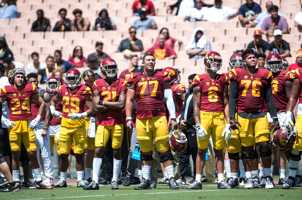 . Chris Brown (77), stands tall with teammates during USC Spring Game at the Los Angeles Memorial Coliseum in Los Angeles on Saturday, April 15, 2017. (Photo by Ed Crisostomo, Los Angeles Daily News/SCNG)