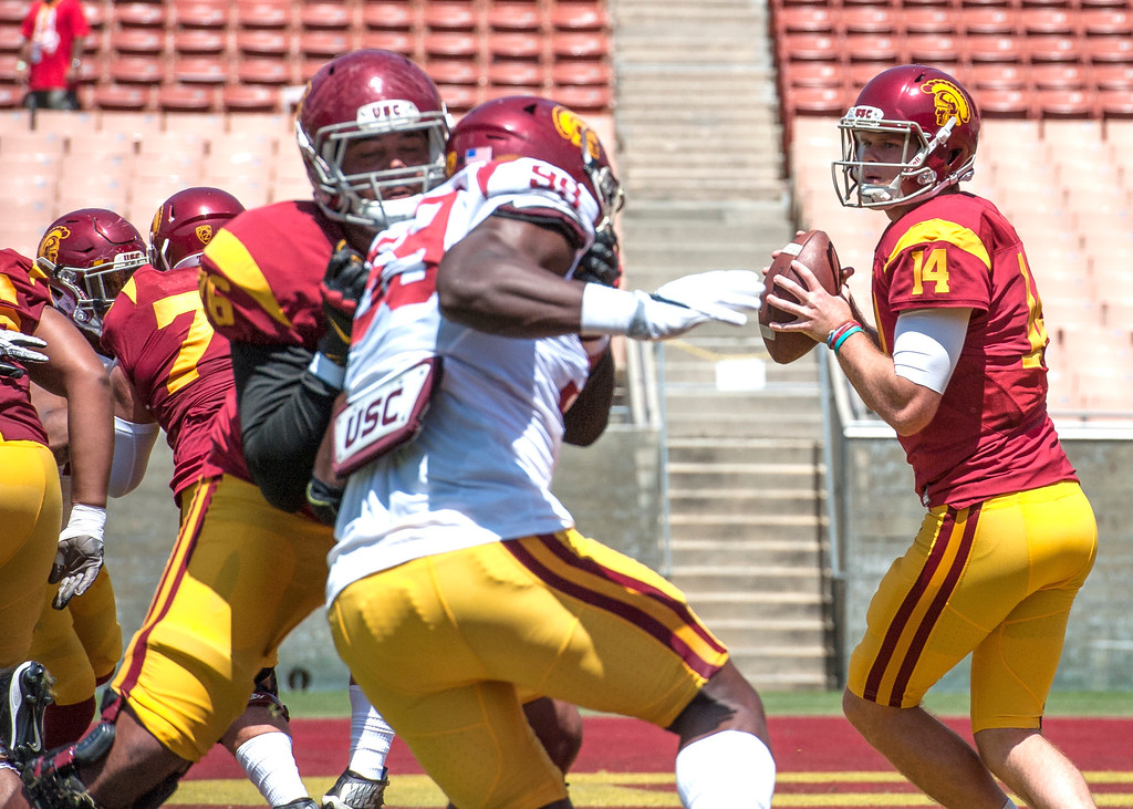 . Quarterback Sam Darnold fires a pass during USC Spring Game at the Los Angeles Memorial Coliseum in Los Angeles on Saturday, April 15, 2017. (Photo by Ed Crisostomo, Los Angeles Daily News/SCNG)