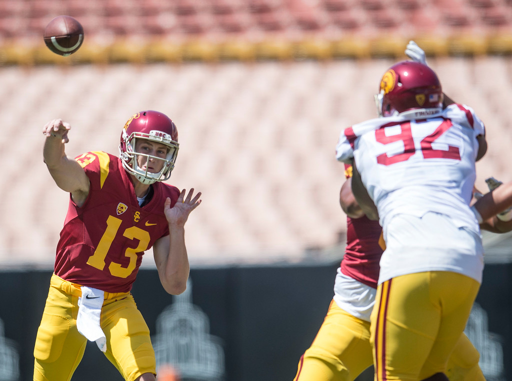 . Jack Sears fires a pass during USC Spring Game at the Los Angeles Memorial Coliseum in Los Angeles on Saturday, April 15, 2017. (Photo by Ed Crisostomo, Los Angeles Daily News/SCNG)