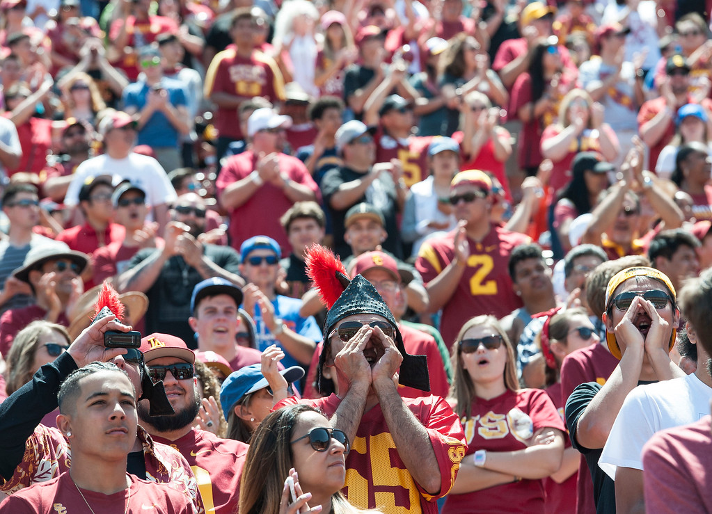 . Fans cheer during USC Spring Game at the Los Angeles Memorial Coliseum in Los Angeles on Saturday, April 15, 2017. (Photo by Ed Crisostomo, Los Angeles Daily News/SCNG)