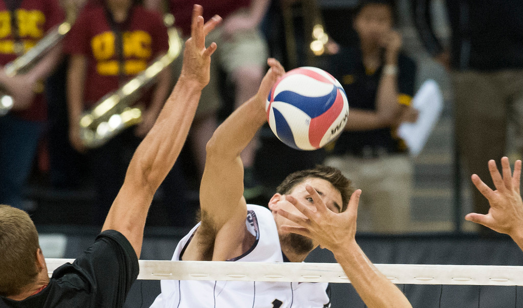 . LBSU TJ DeFalco gets the ball past USC while playing in the MPSF Tournament in NCAA Men\'s Volleyball in Long Beach Saturday, April 15, 2017.  (Photo by Thomas R. Cordova, Press-Telegram/SCNG)