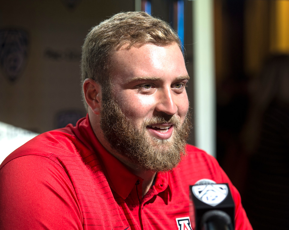 . Arizona Jacob Alsadek, (OL) addresses the media during Pac-12 Football Media Days event at the Hollywood and Highland Entertainment Center in Hollywood on Wednesday, July 26, 2017. (Photo by Ed Crisostomo, Los Angeles Daily News/SCNG)