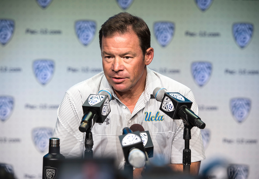 . UCLA head coach Jim Mora addresses the media during Pac-12 Football Media Days event at the Hollywood and Highland Entertainment Center in Hollywood on Wednesday, July 26, 2017. (Photo by Ed Crisostomo, Los Angeles Daily News/SCNG)