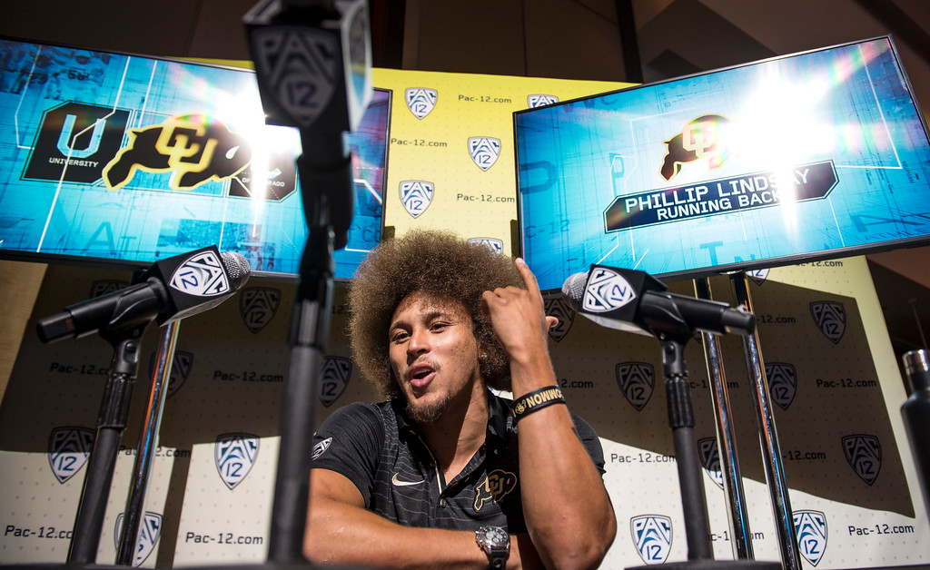 . Colorado Phillip Lindsay, (RB), addresses the media during Pac-12 Football Media Days event at the Hollywood and Highland Entertainment Center in Hollywood on Wednesday, July 26, 2017. (Photo by Ed Crisostomo, Los Angeles Daily News/SCNG)