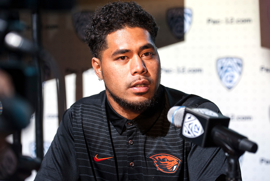 . Oregon State Manase Hungalu, (LB), addresses the media during Pac-12 Football Media Days event at the Hollywood and Highland Entertainment Center in Hollywood on Wednesday, July 26, 2017. (Photo by Ed Crisostomo, Los Angeles Daily News/SCNG)