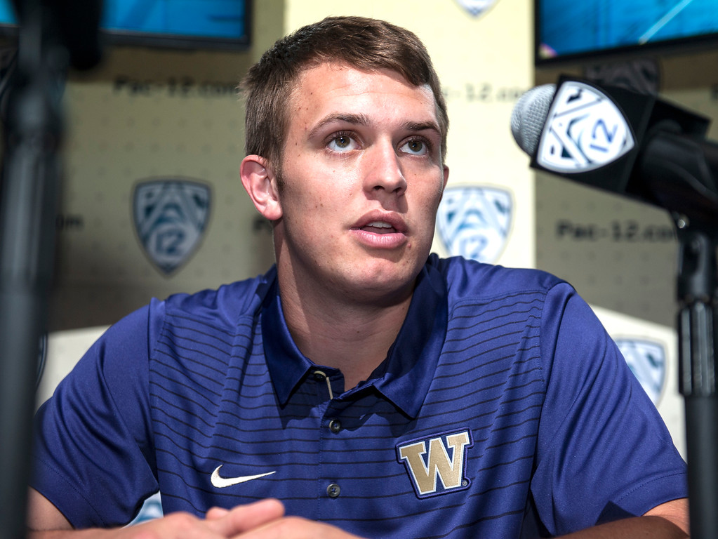 . Washington Jake Browning, (QB), addresses the media during Pac-12 Football Media Days event at the Hollywood and Highland Entertainment Center in Hollywood on Wednesday, July 26, 2017. (Photo by Ed Crisostomo, Los Angeles Daily News/SCNG)