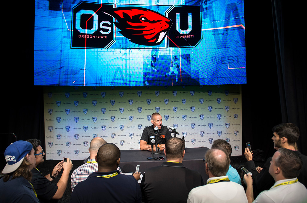 . Oregon State head coach Gary Andersen addresses the media during Pac-12 Football Media Days event at the Hollywood and Highland Entertainment Center in Hollywood on Wednesday, July 26, 2017. (Photo by Ed Crisostomo, Los Angeles Daily News/SCNG)