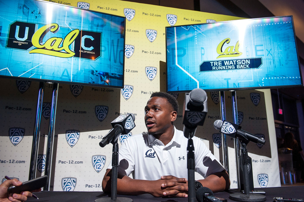 . California Tre Watson, (RB), addresses the media during Pac-12 Football Media Days event at the Hollywood and Highland Entertainment Center in Hollywood on Wednesday, July 26, 2017. (Photo by Ed Crisostomo, Los Angeles Daily News/SCNG)