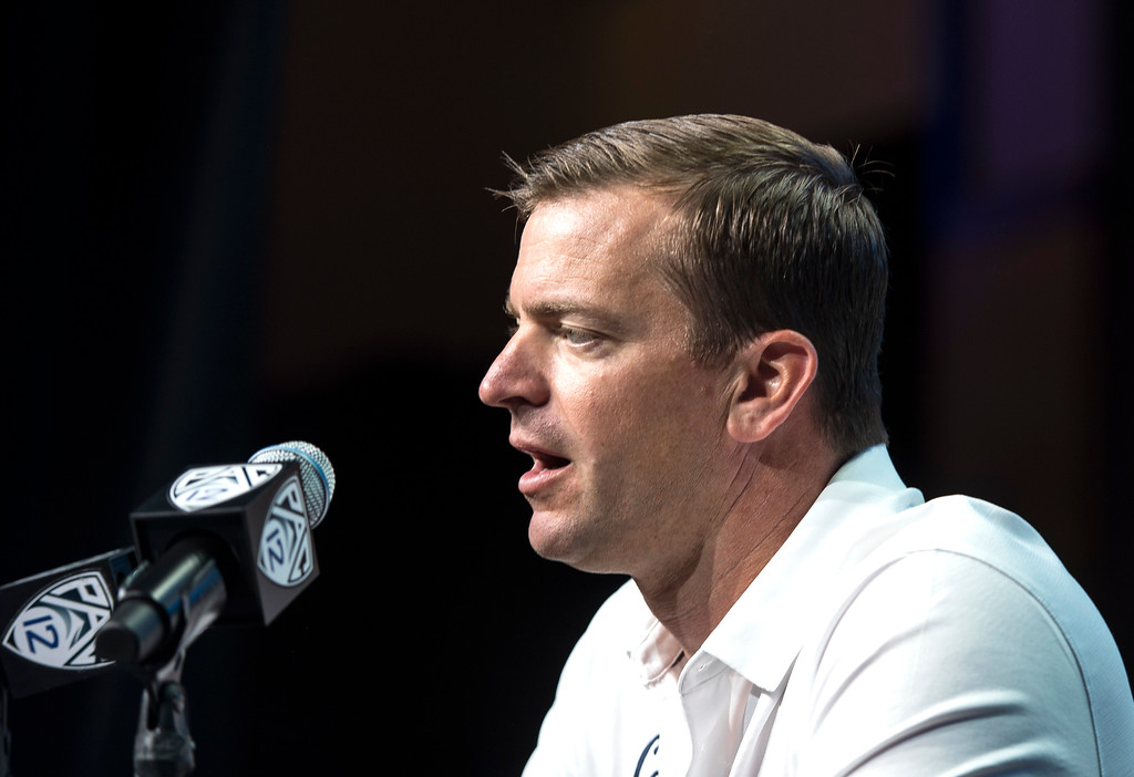 . California head coach Justin Wilcox addresses the media during Pac-12 Football Media Days event at the Hollywood and Highland Entertainment Center in Hollywood on Wednesday, July 26, 2017. (Photo by Ed Crisostomo, Los Angeles Daily News/SCNG)