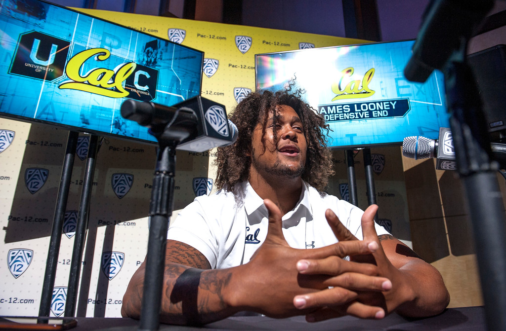 . California James Looney, (DE), addresses the media during Pac-12 Football Media Days event at the Hollywood and Highland Entertainment Center in Hollywood on Wednesday, July 26, 2017. (Photo by Ed Crisostomo, Los Angeles Daily News/SCNG)